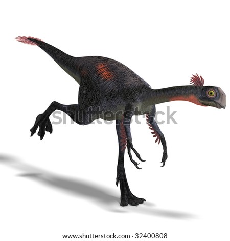 dangerous dinosaur gigantoraptor. 3D render with clipping path and shadow over white - stock photo