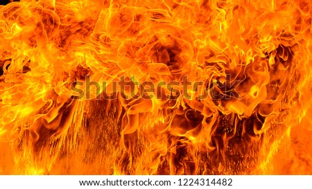 Dangerous fire frames with sparks. Red hot fire frames on black background. Beautiful abstract background on the theme of blaze fiery orange glowing. Creative concept layout template for sale banner. #1224314482
