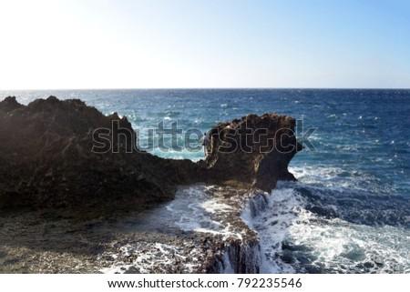 Dangerous fishing point of Okinawa Japan. #792235546