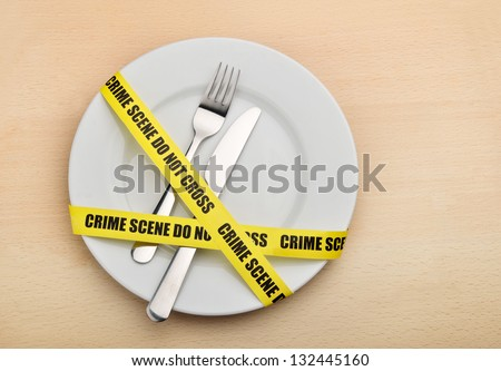 Dangerous food. Empty plate, fork and knife wrapped in crime scene tape. - stock photo