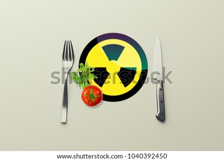 Dangerous food. vegetable, fork and knife, 3d illustration #1040392450