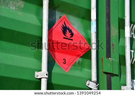 dangerous goods symbol on metal container