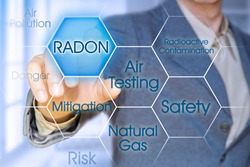Dangerous natural gas Radon - Concept with business manager pointing to icons against a digital display.