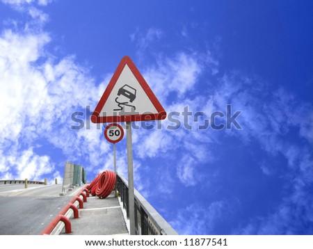 dangerous road, sign - stock photo