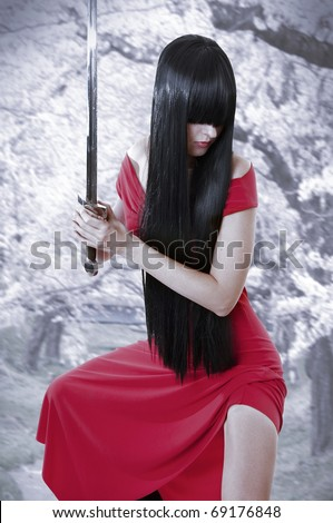 Stock Photo dangerous sexual mystery asian girl. Anime style woman with long black hair with sword and red seductive dress