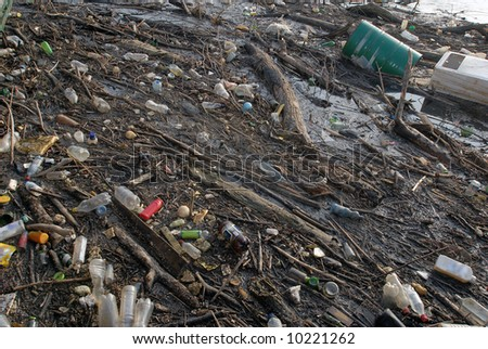 Dangerous toxic garbage, toxic pollution in river
