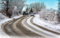 Dangerous winter driving on icy roads in North Yorkshire in the United Kingdom.