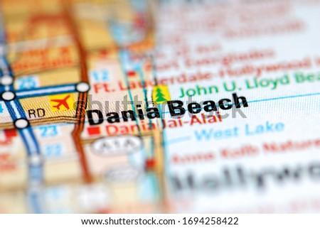 Dania Beach on a geographical map of USA Zdjęcia stock ©