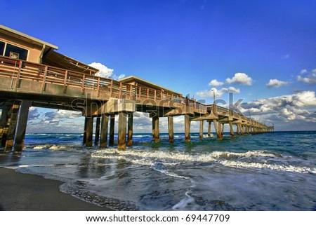 Dania Beach pier in Florida at sunset