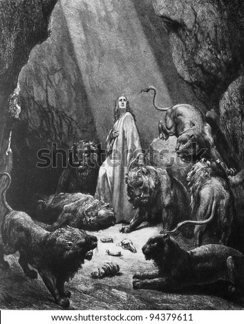 Daniel in the lions pit. 1) Le Sainte Bible: Traduction nouvelle selon la Vulgate par Mm. J.-J. Bourasse et P. Janvier. Tours: Alfred Mame et Fils. 2) 1866 3) France 4) Gustave Doré