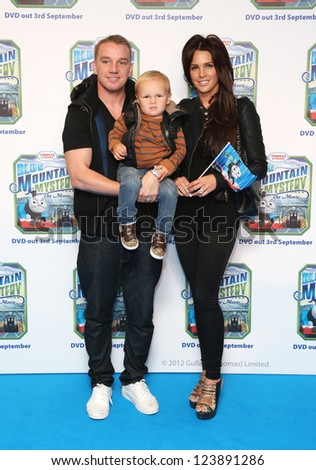 Danielle Lloyd, Jamie O'Hara and their son Archie  arriving for Thomas & Friends Blue Mountain Mystery premiere held at the Vue cinema, London. 01/09/2012 Picture by: Henry Harris