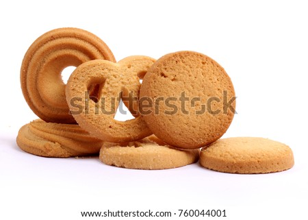 Danish butter cookies, butter cookies on white #760044001