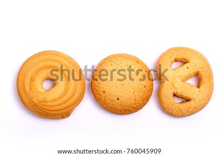 Danish butter cookies, butter cookies on white #760045909