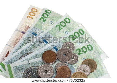 Danish coins and bank notes - stock photo