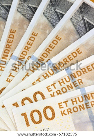 Danish crowns. Currency from Denmark in Europe.