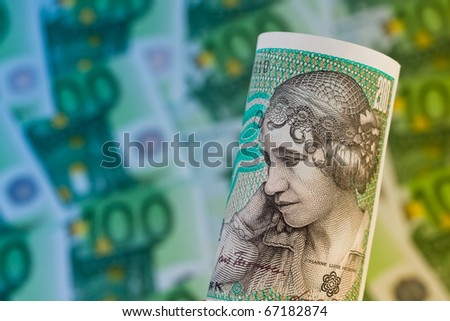 Danish crowns. Currency from Denmark in Europe. ? banknotes and money.