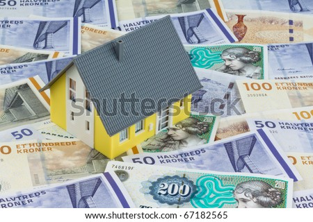 Danish crowns. Currency from Denmark in Europe. Model home. Costs for homes and houses