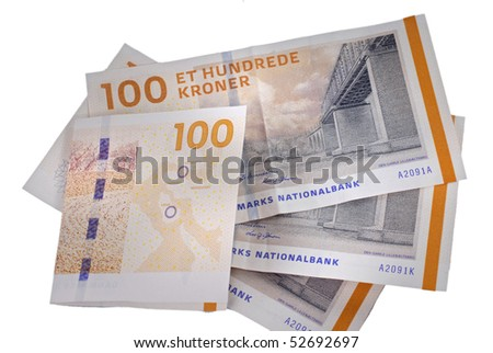 Danish currency. 100 bill notes. 400 dkr