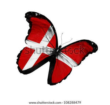 Royalty Free Latvian Flag Butterfly Flying Isolated 110242241
