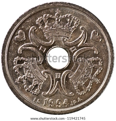 Danish 2 Krone Coin Obverse Showing the Queens Monogram Isolated