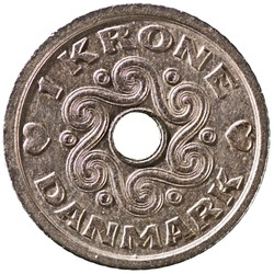 Danish 1 Krone Coin Reverse Showing Pre-historic Danish Art  Isolated
