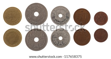 Danish krone coins isolated on white