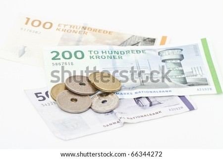 Danish money isolated on white.