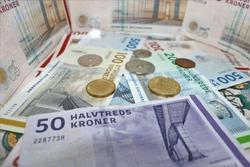 Danish money isolated on white background.