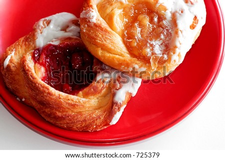 Danishes on red plate
