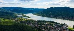Danube Bend (Dunakanyar in Hungarian language) aerial view in Visegrad, Hungary.