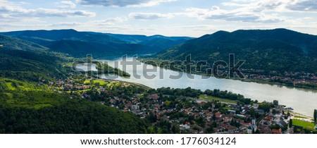 Danube Bend (Dunakanyar in Hungarian language) aerial view in Visegrad, Hungary. Сток-фото ©