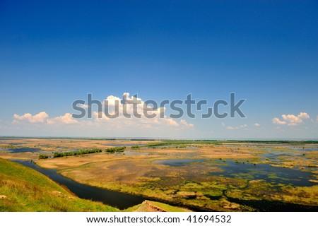 danube delta landscape in spring