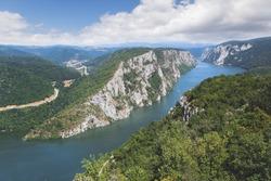 Danube in Djerdap National park, Serbia. Danube gorge