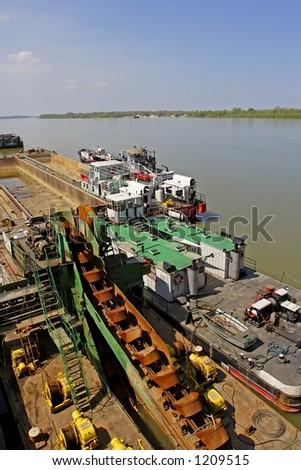 Danube river barge in Serbia