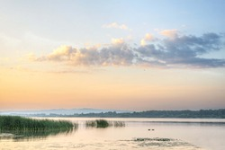 danube river morning landscape with colorful sky. lake landscape