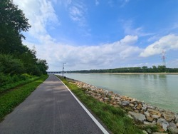 Danube River View in Upper Austria on the cycle Road in the afternoon