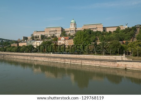 Danube riverbank with Royal Palace of Buda - stock photo