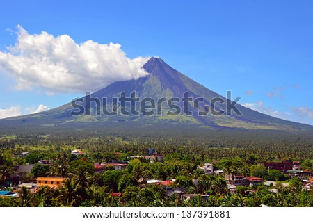 DARAGA, PHILIPPINES - APRIL 14: Mayon Volcano on April 14, 2013 in Daraga, Philippines. Mayon Volcano is an active volcano and 2462 meters high.