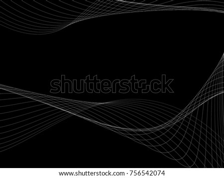 Dark abstract background with a glowing abstract waves, abstract background #756542074