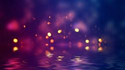 Dark abstract background with bokeh. Reflection in the water of bright blurry lights. Smoke, fog.
