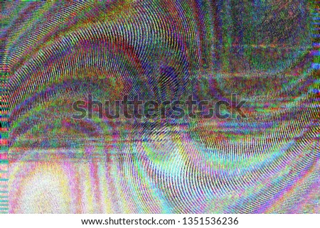 Dark abstract background with image distortion. Glitch effect. Vinyl effect. Bad TV. Simple illustration for decorative design or presentation.