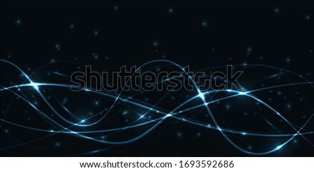 Dark abstract futuristic hi-tech background with turquoise translucent luminous lines and highlights.