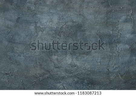 Dark abstract grunge art decorative texture design gray blue stucco concrete table background