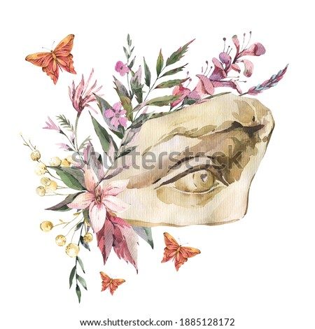 Dark academia floral vintage illustration. Greek sculpture David eye with dry flowers, butterfly isolated on white background. Foto stock ©