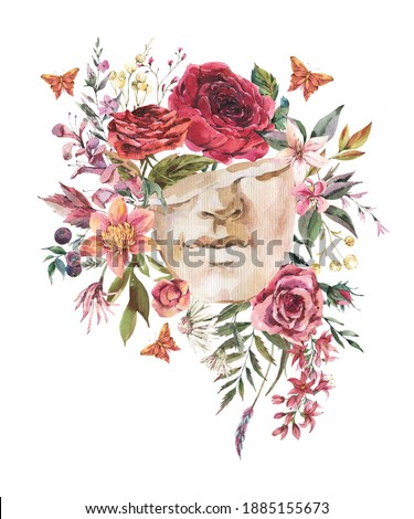 Dark academia floral vintage illustration. Greek sculpture with dry flowers and butterfly isolated on white background. Foto stock ©