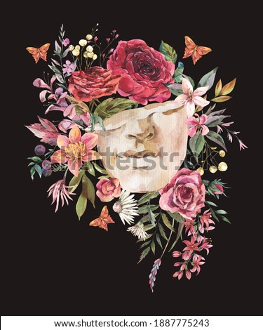Dark academia floral vintage illustration. Greek sculpture with dry flowers and butterfly isolated on black background. Foto stock ©
