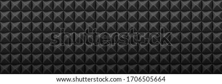 Dark acoustic foam panel background, recording studio banner, sound proofing texture ストックフォト ©