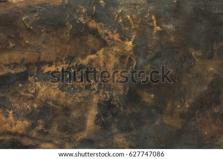 Dark aged brass plate texture, old metal background.