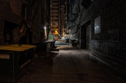 dark alley at night downtown Chicago