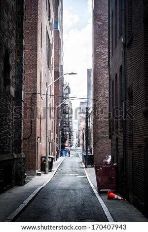 Dark alley in Boston, Massachusetts. #170407943